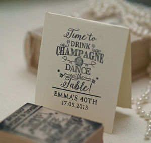 'Champagne And Dance' Personalised Stamp
