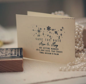 Snowflake Save The Date Stamp - save the date cards