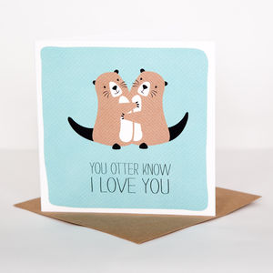 Otter Love Card - valentine's cards