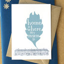 'Home Is Where My Mum Is' Card - Duck Egg