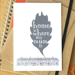 'Home Is Where My Mum Is' Card - mother's day cards