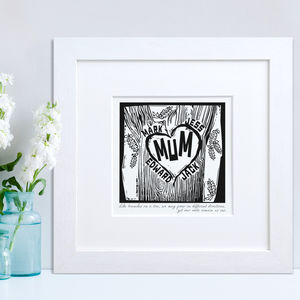 Family Woodcut Print - mother's day gifts