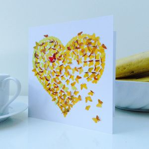 Heart Of Gold Butterfly Blank Card - thank you cards