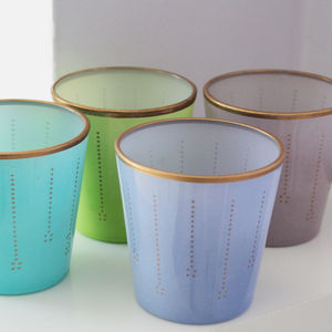 Parisien Style Pastel Glass Tealight Holder - mint, blush & gold
