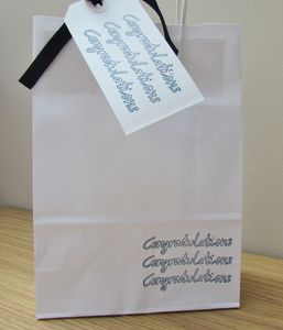 'Congratulations' Gift Bag And Tag : Two Sizes - ribbon & wrap