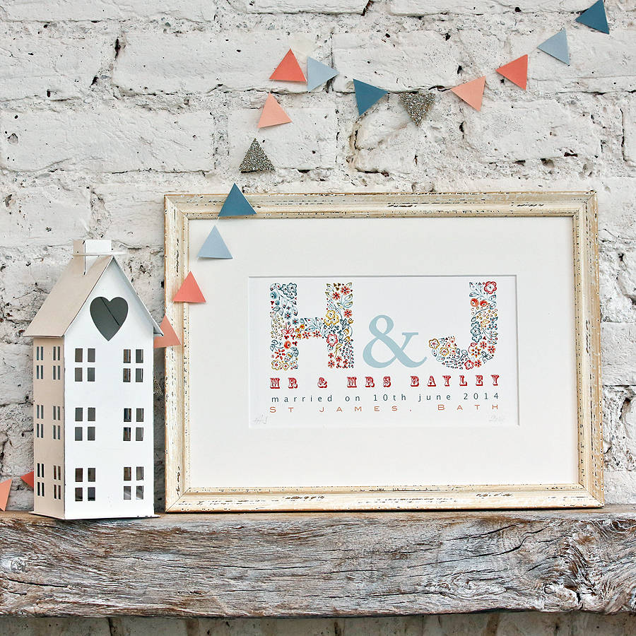 personalised wedding, anniversary or couple gift print by little ...