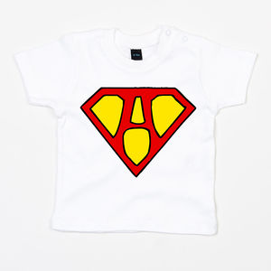 Baby Superhero Initial T Shirt - clothing