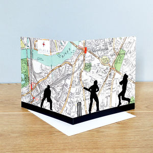Cricket Card Over Oval Map - view all father's day gifts