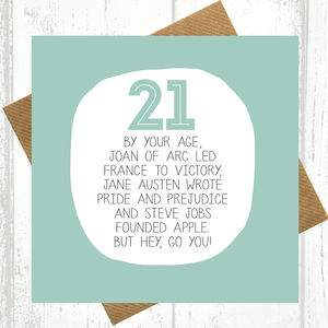 By Your Age… 21st Birthday Card - birthday cards