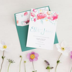 Watercolour Calligraphy Wedding Invitation - wedding stationery