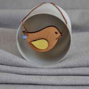 Origami Bird Wooden Necklace