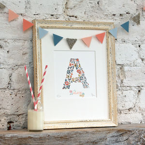 Personalised Letter And Name Nursery Print - christening gifts