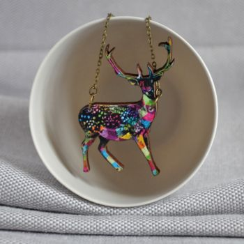 Geometric Pattern Wooden Deer Necklace