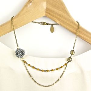 Grey Rose And Yellow Necklace