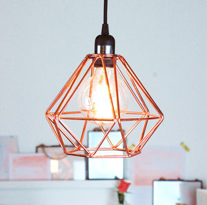 Nordic Geometric Copper Ceiling Pendant Light - furnishings & fittings