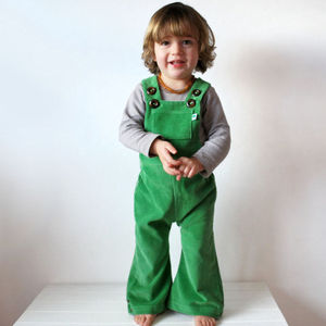 Corduroy Flared Children's Dungarees: Apple - more
