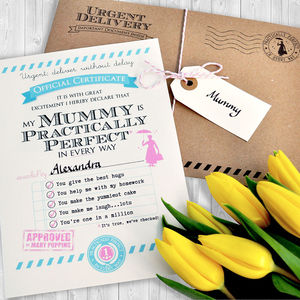 Personalised 'Practically Perfect Mummy' Certificate