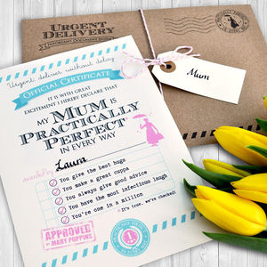Personalised 'Practically Perfect Mum' Certificate