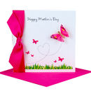hot pink butterfly handmade mothers day cards