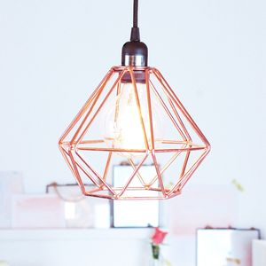 Nordic Geometric Copper Ceiling Pendant Light - dining room