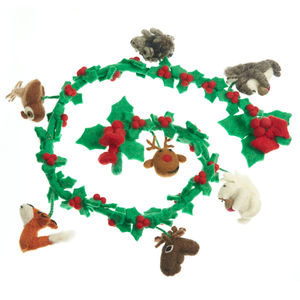 Handmade Felt Woodland Garland - tree decorations
