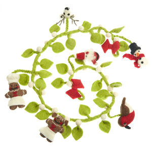 Handmade Felt Mistletoe Garland - tree decorations