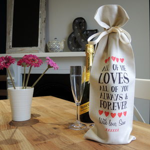 Personalised Love Wine Bottle Bag - ribbon & wrap
