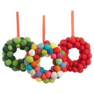 Handmade Felt Small Ball Wreath - baubles & hanging decorations