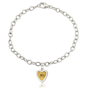Sterling Silver Heart Bracelet With 22ct Gold Inlay