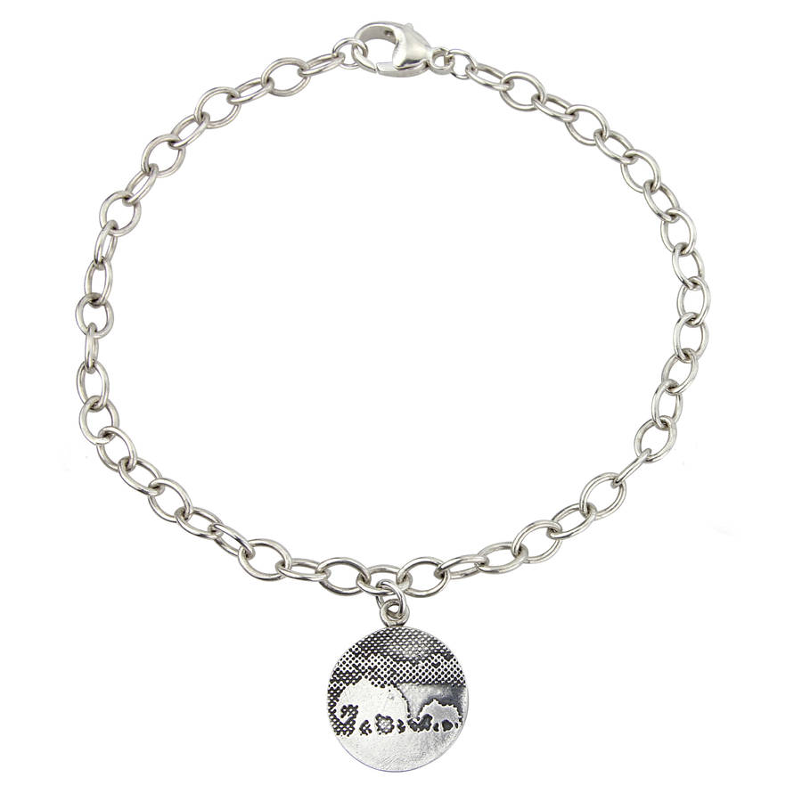 Personalised Mother And Baby Elephant Charm Bracelet