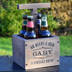 Personalised Engraved Beer Crate - 60th birthday gifts