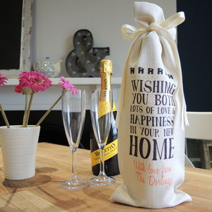 Personalised New Home Wine Bottle Bag