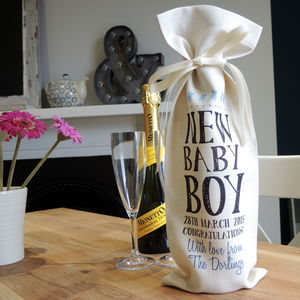 Personalised New Baby Wine Bottle Bag - ribbon & wrap