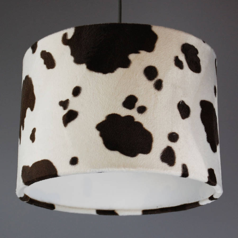 Cow Print Faux Fur Lampshade