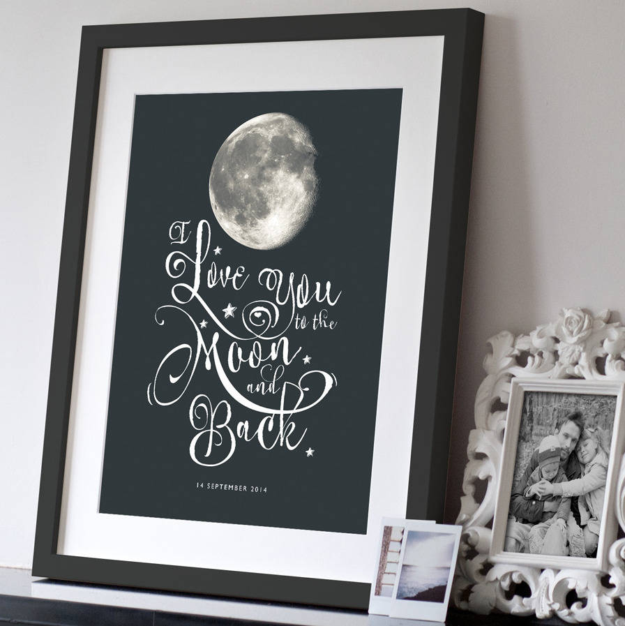 personalised i love you to the moon and back print in large 23mm black