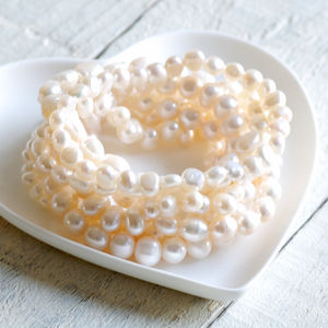 Set Of Eight Ivory Stretch Pearl Bracelets