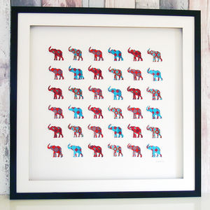 Framed 3D Multi Elephant Artwork