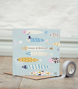 Fish Flock Birthday Card