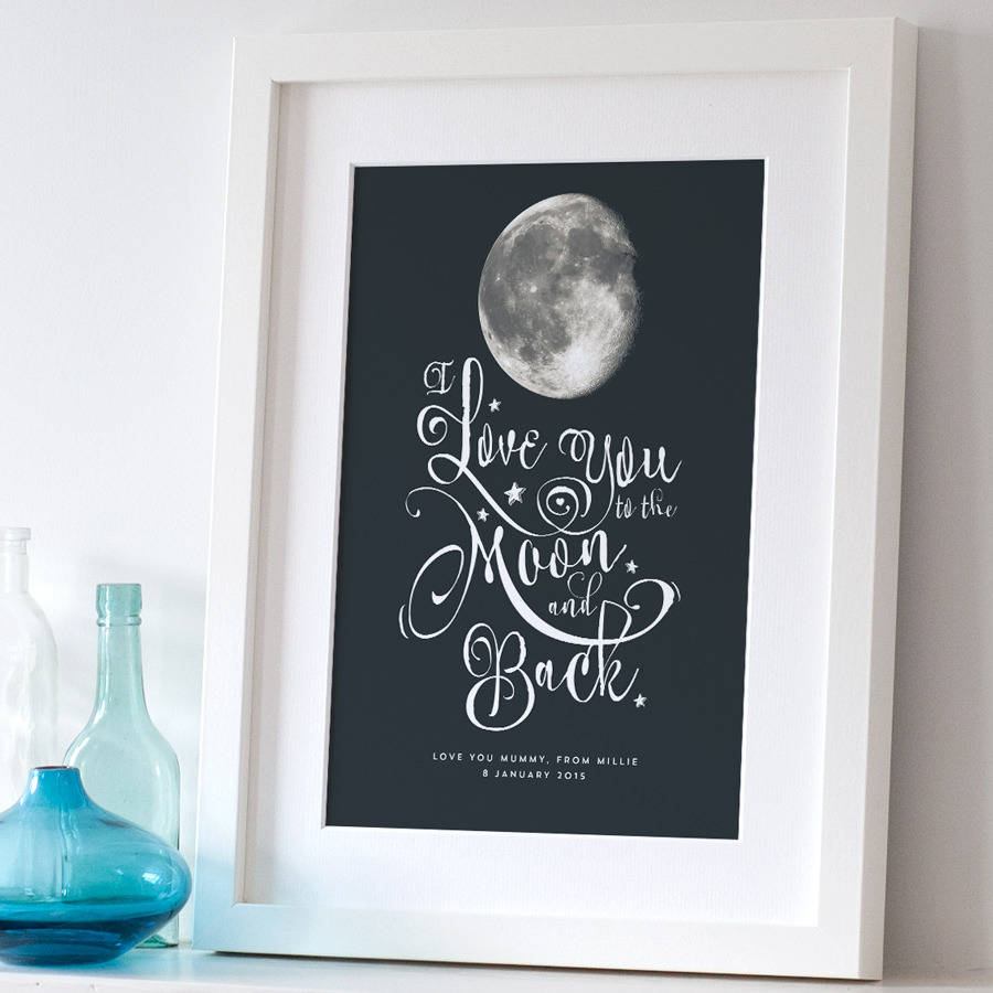 personalised i love you to the moon and back print in regular 23mm white