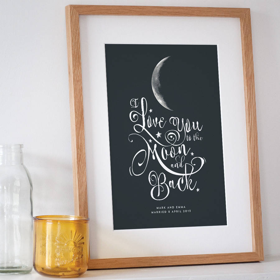 personalised i love you to the moon and back print in regular 15mm oak