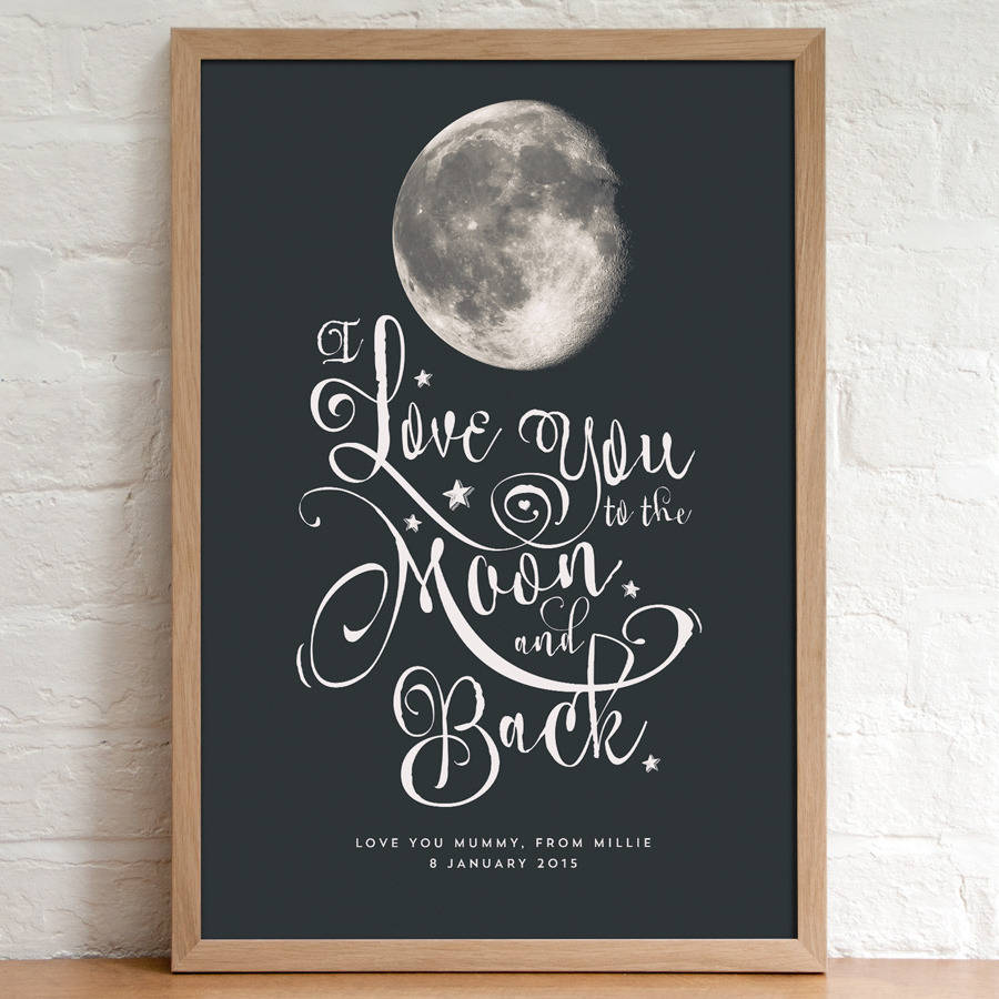 personalised 39 i love you to the moon and back 39 print by. Black Bedroom Furniture Sets. Home Design Ideas