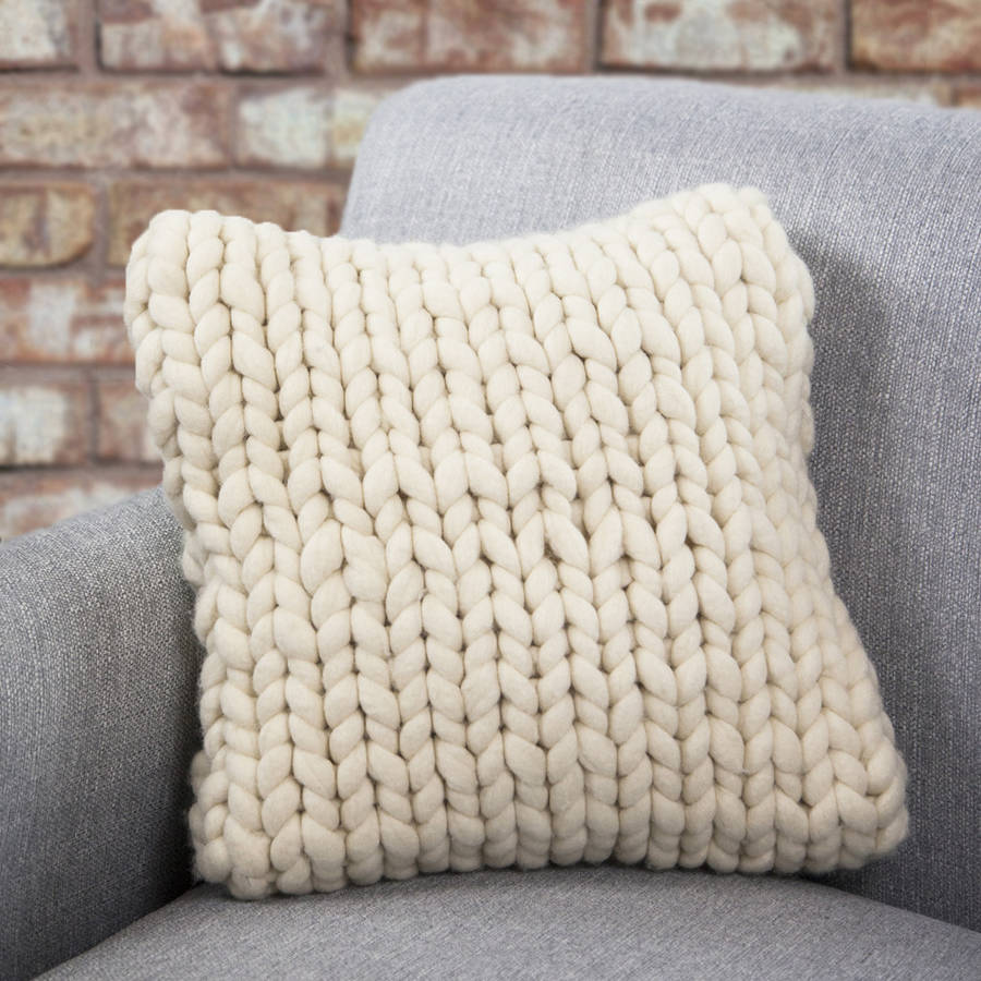 Knitting Pattern For Cushion Cover Chunky Wool : hartland chunky knitted cushion by lauren aston notonthehighstreet.com