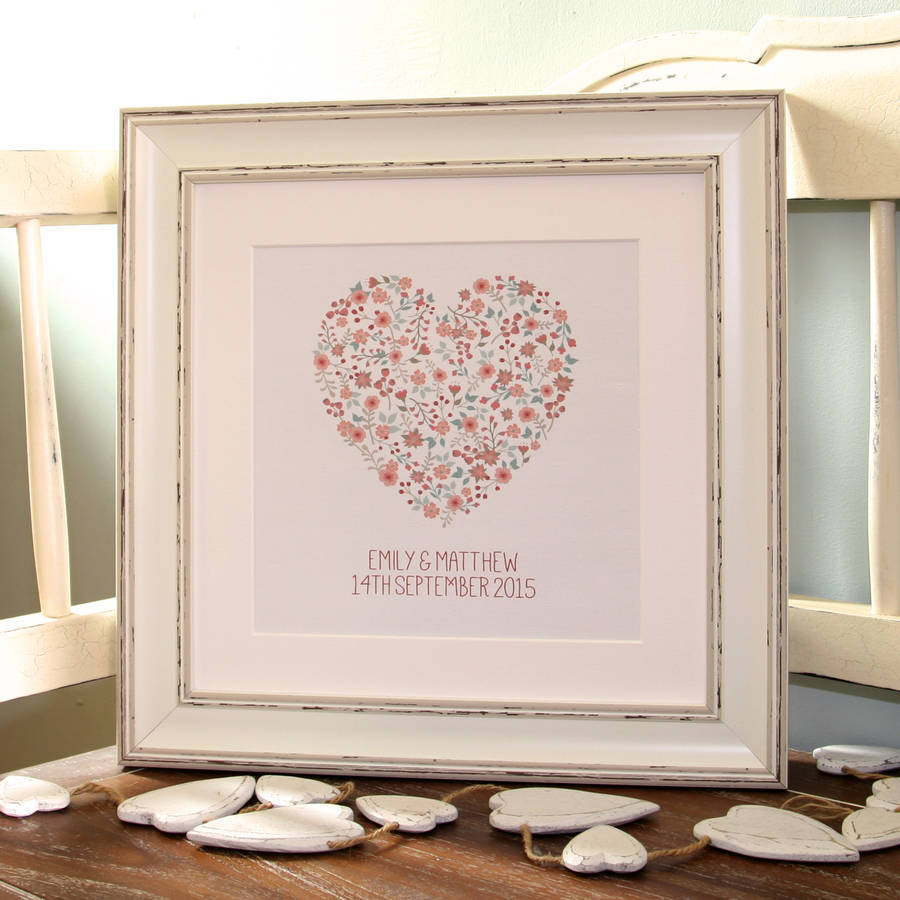 Personalised Engagement 'Floral Heart' Canvas Print