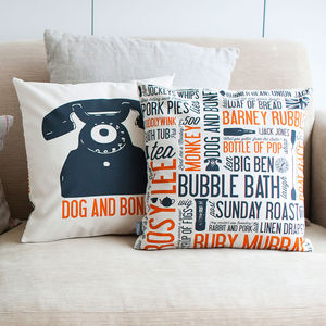 'Dog And Bone' Cockney Cushion - patterned cushions