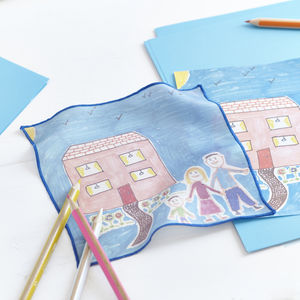 Ladies Silk Pocket Square Personalised Child's Drawing - mother's day gifts