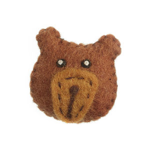 Handmade Felt Bear Brooch - children's accessories