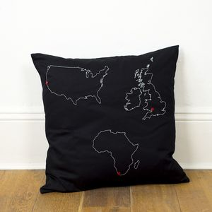 Personalised Three Map Cushion Cover