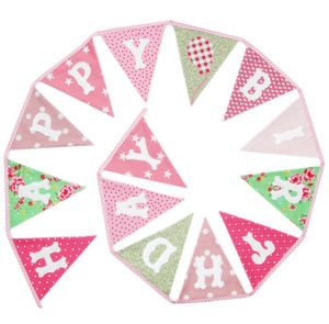 Girls 'Happy Birthday' Bunting - bunting & garlands