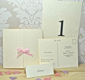 Ornamental Embossed Wedding Invitation - reply & rsvp cards