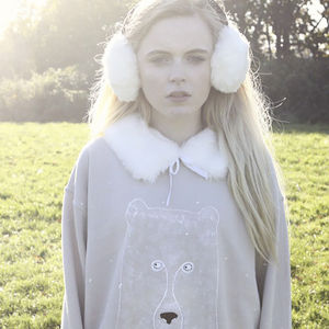 Hand Painted Bear Sweater With Faux Fur Collar - women's fashion